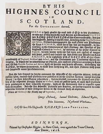 Richard Cromwell - Proclamation announcing the death of Oliver Cromwell and the succession of Richard Cromwell as Lord Protector. Printed in Scotland 1658.
