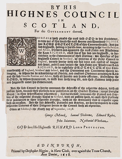Proclamation announcing the death of Oliver Cromwell and the succession of Richard Cromwell as Lord Protector. Printed in Scotland 1658. By His Highnes Council in Scotland, for the government thereof Edinburgh 1658.jpg