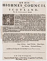 By His Highnes Council in Scotland, for the government thereof Edinburgh 1658.jpg