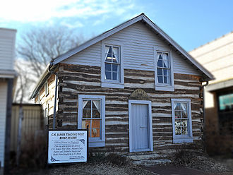 Augusta, Kansas - C. N. James Cabin, built 1868, first building in Augusta, Kansas.