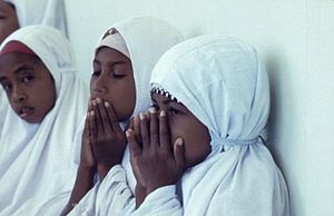 Muslim girls on friday in the mosque, Tulehu