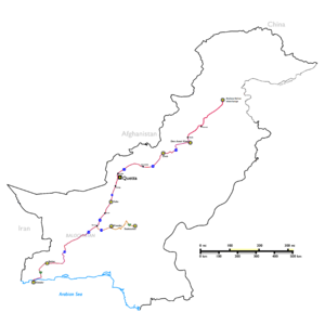 Gwadar Port - The Western Alignment of CPEC is depicted by the red line. The 1,153 kilometre route will link the M1 Motorway near Islamabad with Gwadar Port. The Western Alignment will also connect to the Karakoram Highway, which is being rebuilt and overhauled as part of CPEC to provide improved access to Gilgit Baltistan and the Chinese region of Xinjiang.