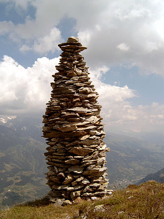 Cairn - A cairn marking a mountain summit in Graubünden, Switzerland