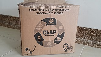 Shortages in Venezuela - A food box provided by CLAP, with the supplier receiving government funds owned by President Nicolas Maduro
