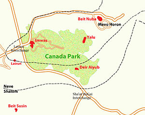 Bayt Nuba - Map showing depopulated and destroyed Palestinian villages in the Latrun area, and the Israeli settlement of Mevo Horon and Canada Park, established after Israel's occupation of the area in the wake of the 1967 war