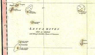 Laccadive Islands - The Laccadive subgroup on a 1800 map.