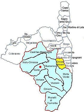 Carte Corse Orezza.Canton D Orezza Alesani Wikipedia