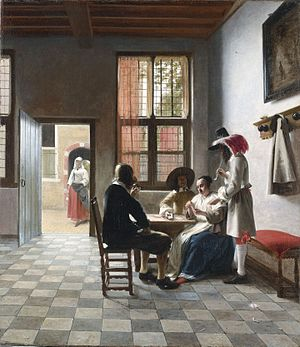Cardplayers in a Sunlit Room - Image: Card Players in a sunlit Room, by Pieter de Hooch