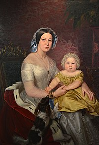 """Oil painting of """"Marie, Queen of Hanover and Crown Prince Ernst August"""" by court painter Carl Oesterley, c.1846 (Source: Wikimedia)"""