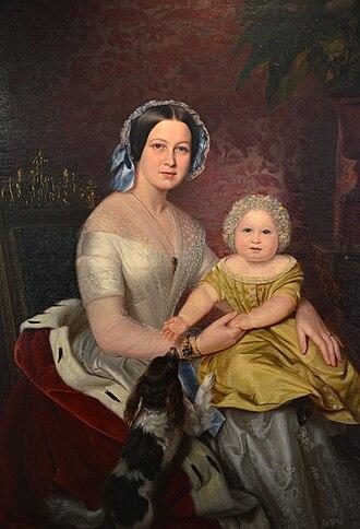 Marie of Saxe-Altenburg - Image: Carl Wilhelm Friedrich Oesterley, Marie, Königin von Hannover und Kronprinz Ernst August, Ölgemälde im Diakoniekrankenhaus Henriettenstiftung