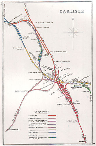 Carlisle railway station - A 1912 Railway Clearing House Junction Diagram showing railways in the vicinity of Carlisle (shown here as CITADEL STATION)