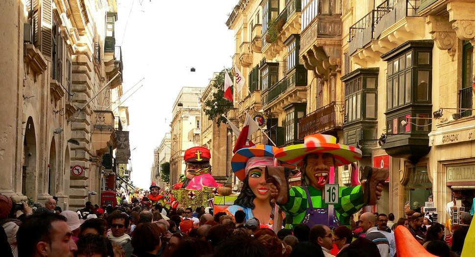 Carnival in Valletta - Trucks in Street of Valletta