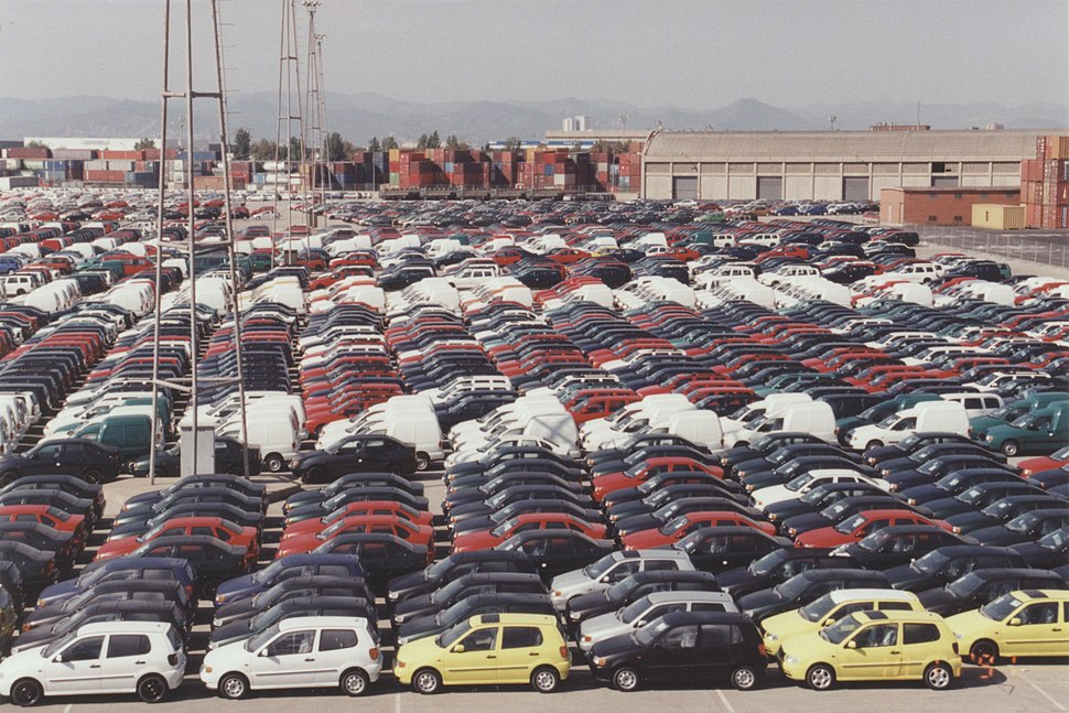 Cars parked on the pier in Barcelona 1997