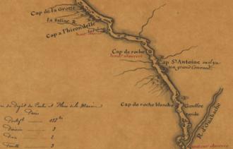 Capes on the Mississippi River - Capes on the Middle Mississippi - Carte de la rivière de Mississippi, by Guillaume de L'Isle