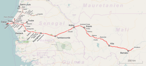Dakar–Niger Railway - Map of the Dakar–Niger Railway