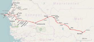 Dakar–Niger Railway - Map of the Dakar–Niger Railway