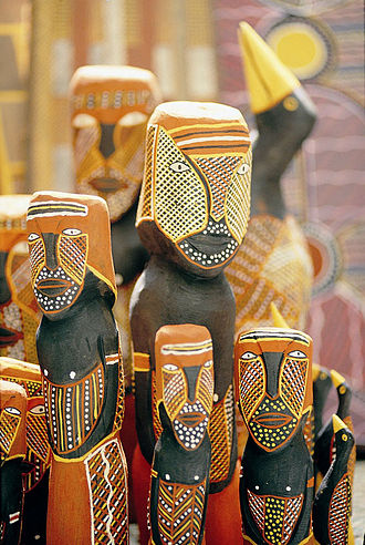 Tiwi Islands - Tiwi Island decorated carvings, 2005.