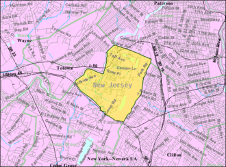 Woodland Park, New Jersey - Image: Census Bureau map of West Paterson, New Jersey