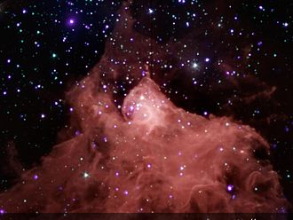 Star formation - Composite image showing young stars in and around molecular cloud Cepheus B.