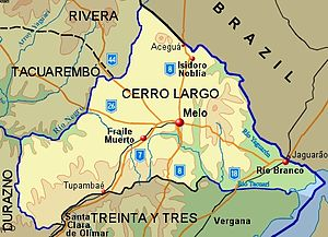 Cerro Largo Department - Topographic map of Cerro Largo Department showing main populated places and roads