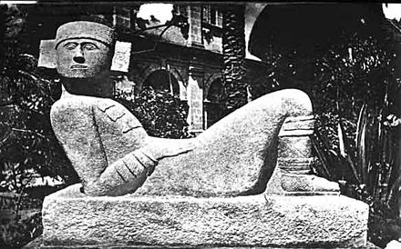 A Chac Mool statue, first identified by le Plongeon but later extensively documented by Morley's Chichen Itza excavations. This type of statue (whose purpose remains unclear, presumed to relate to ritual sacrifice) is also characteristic of Toltec sites, and thus provided a linkage between Chichen Itza and Central Mexico. Chac Mool1.jpg