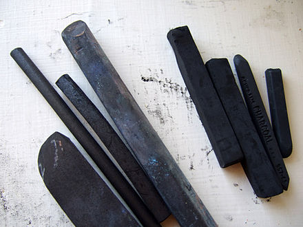 Sticks of vine and compressed charcoal Charcoal sticks 051907.jpg