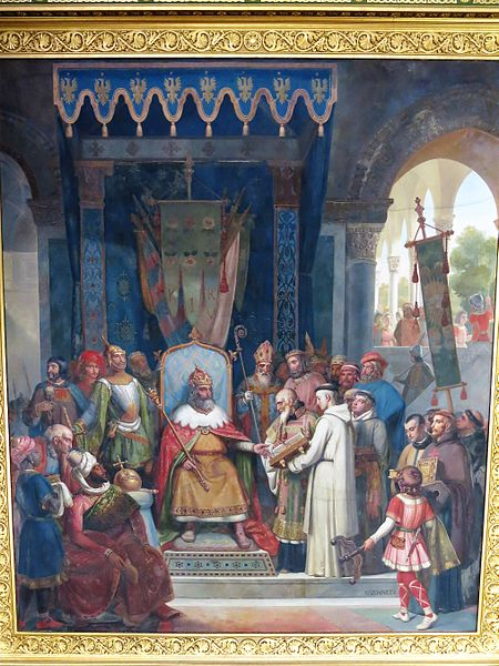 File:Charlemagne receiving Alcuin who shows to him the manuscripts written by his monks.jpg