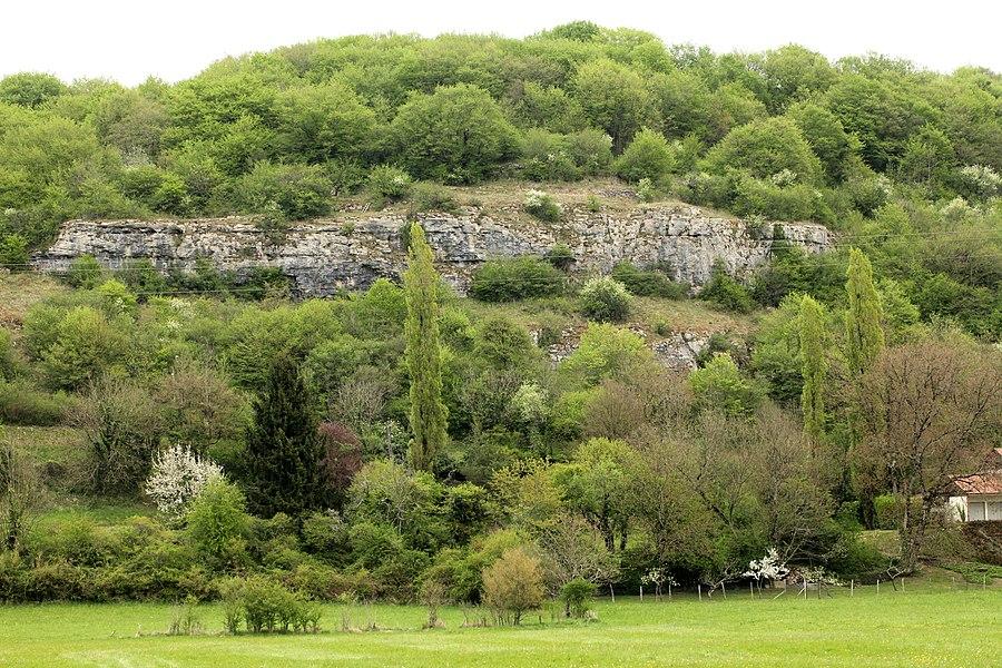 Falaise à Chenecey-Buillon (Doubs).
