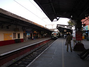 Chennai Park railway station - A suburban train to Chennai Beach arriving on Platform 1 at the station