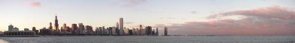 Panorama Chicago z jeziora Michigan