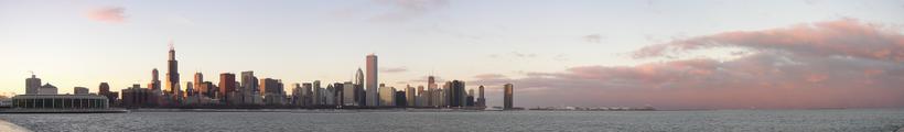 Panorama urbain sur Chicago depuis le lac Michigan.