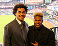 Chris Archer and Marcus Stroman hang out during -WorldSeries Game 5 (22744862376).jpg