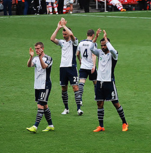 Chris Brunt - Brunt (seen here on the left) applauding the West Brom supporters at Arsenal's Emirates Stadium in May 2015
