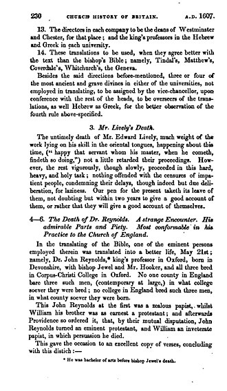 John Rainolds - The Church History of Britain by Thomas Fuller (1837) page 1