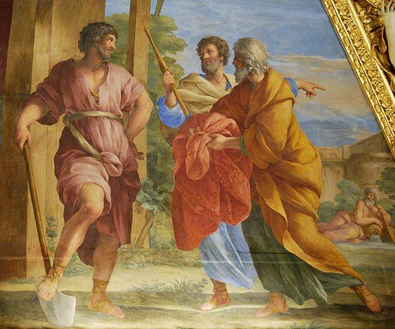 Джованни Франческо Романелли. Послы сената сообщают Цинциннату, занятому обработкой земли, о его назначении диктатором (фреска в Лувре), 1655—1658. Литературным источником для сюжета послужил Ливий.