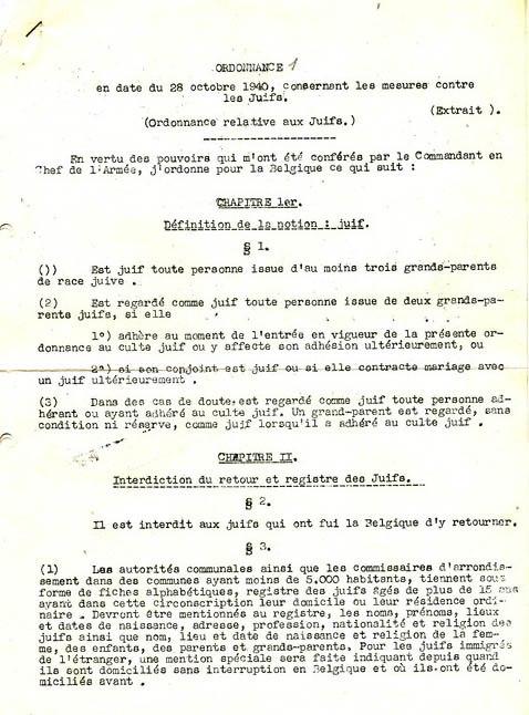 Circular describing the Belgian anti-jewish laws of October 1940