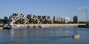 Cité du Havre - Habitat 67 and Cité du Havre as seen from the Old Port of Montreal.