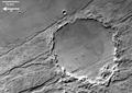 Claritas Fossae crater detailed view, black and white ESA217652.tiff