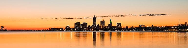 Cleveland skyline at sunrise from Lake Erie