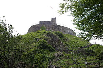 Clitheroe Castle - The keep and part of the surviving curtain wall