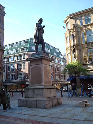 Richard Cobden - Statue of Richard Cobden outside St Ann's Church, Manchester