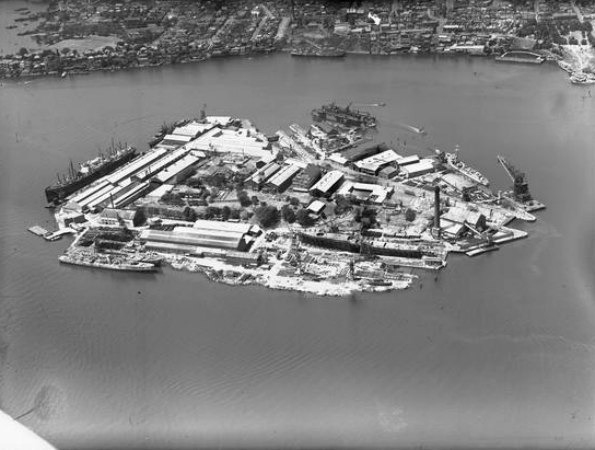 Cockatoo Island aerial view 1951