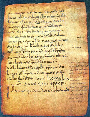 Glosas Emilianenses - Page 72 of the Aemilianensis 60 codex. The gloss in the bottom right-hand margin of the page is the most extensive one in the codex.