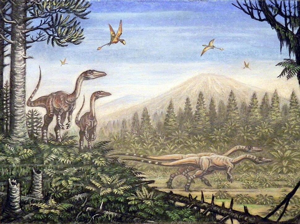 Coelophysis and Peteinosaurus