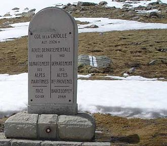 Col de la Cayolle - Sign at the summit, showing the border between the two departments