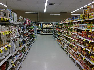 Coles Supermarkets - An aisle in a Coles supermarket in Glenfield Park.