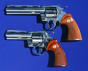 with 6-inch (15 cm) and 4-inch (10 cm) barrels and nickel finish