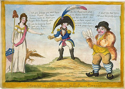 A political caricature depicting American demands for respect and seaman's rights from the British Columbia-John-Bull-Napoleon-ca1813.jpg