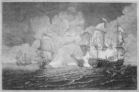 Combat mémorable donné le 22, septembre 1779, entre le Capitaine Pearson commandant le Serapis et Paul Jones commandant le Bonhomme Richard, gravure de Richard Paton, 1779