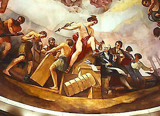 Robert Morris (financier) - A scene from The Apotheosis of Washington shows Morris receiving a bag of gold from Mercury, commemorating his financial services during the Revolutionary War